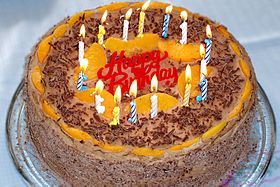Happy Birthday to You is often sung when a birthday cake is brought to a party table before the person with the birthday blows out the candles.