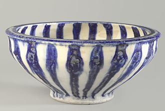 Fritware - Blue and White Bowl with Radial Design, 13th century - Iran.Brooklyn Museum.