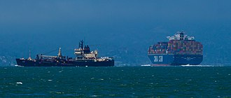 San Francisco Bay - Cargo ships in San Francisco bay in 2012