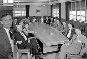 Hendrik Wade Bode - Hendrik Wade Bode, (see enlargement on left), at the May 26, 1958 meeting of the Special Committee on Space Technology, (fourth from the left). Wernher von Braun is at the head of the table facing the camera