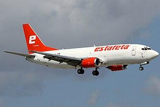 Estafeta Carga Aérea - An Estafeta Carga Aérea Boeing 737-3Y0(F) (XA-AJA) landing at Miami International Airport.