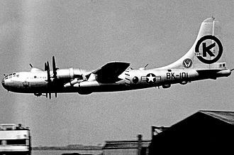 43d Airlift Wing - A 43d Bombardment Wing Boeing B-50D on rotation to England 1953