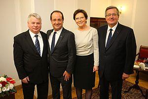 Ewa Kopacz - Kopacz posing with François Hollande during his visit to Poland, 2012