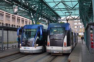 Caen Guided Light Transit - Image: Bombardier TVR n°516 + 508 TWISTO Hérouville Saint Clair