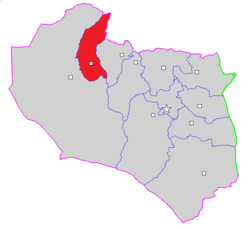 Map of Boshruyeh County in South Khorasan province