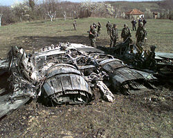 Wreckage of the Yugoslav MiG-29 jet fighter shot down on March 27, 1999, outside the town of Ugljevik, Bosnia and Herzegovina