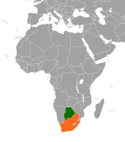 Map indicating locations of Botswana and South Africa