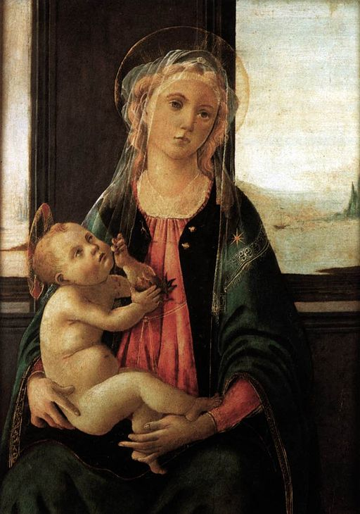 Sandro Botticelli (1445–1510), Madonna del Mare, 1477 circa, tempera su tavola, 60,5×49,5 cm, Firenze, Galleria dell'Accademia, sala del Colosso