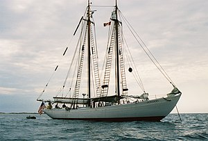 Hodgdon Yachts - Bowdoin at anchor off Sable Island, Nova Scotia