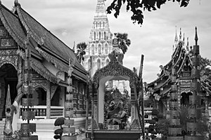 Wat Chedi Liam - Shrine to Brahma in the grounds of Wat Chedi Liam. Chedi Liam is visible at rear.