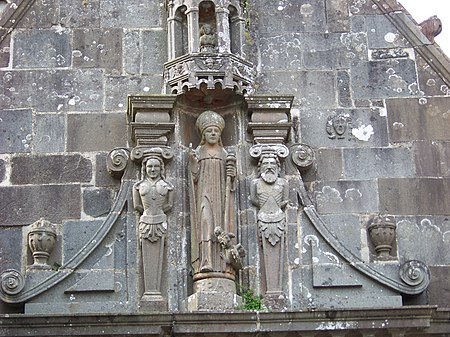 The depiction of Saint Aurelian with two caryatids on the ossuary gable