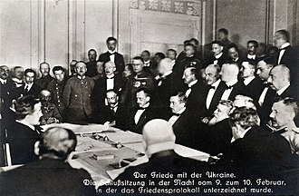Treaty of Brest-Litovsk (Ukraine–Central Powers) - Signing of the Peace Treaty of Brest-Litovsk during the night between 9 and 10 February 1918. Sitting in the middle from the left: Count Ottokar Czernin, Richard von Kühlmann and Vasil Radoslavov