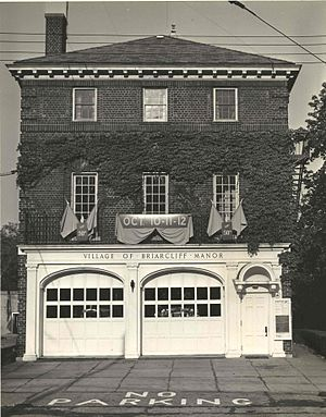 History of Briarcliff Manor - Village Municipal Building decorated for the village semicentennial