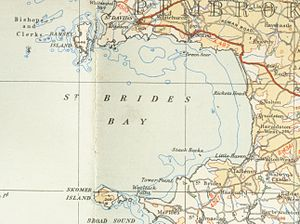 St Brides Bay - Map of St Bride's Bay made in 1946