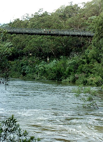 Maldon, New South Wales - Bridge-jumping 1998. Note high river levels after heavy rains.