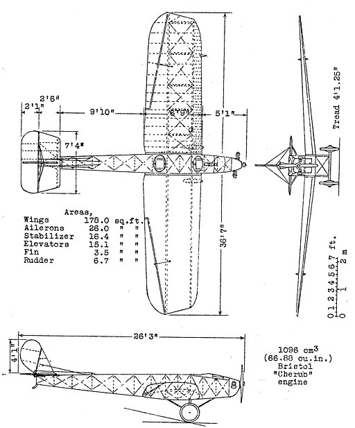 Bristol Brownie 3-view NACA-TM-289