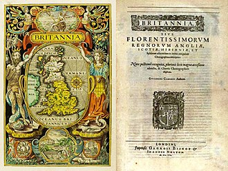 William Camden - Hand-coloured frontispiece and title page of the 1607 edition of Britannia