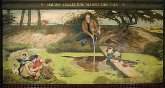 Science and engineering in Manchester - A painting by Madox Brown depicting John Dalton collecting marsh gas to help ascertain Dalton's atomic theory