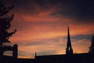 Bryn Mawr College - Sunset over Goodhart Hall