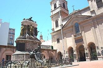 Santo Domingo convent - View of the convent and Manuel Belgrano's mausoleum (at left).