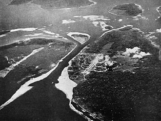 Buka Airport - Aerial view of the Buka Passage showing Japanese-held Buka airfield (center) and Bonis airfield (left) in 1943