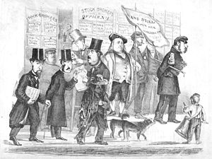 "Bummer and Lazarus - Ambling Down Montgomery Street. Joshua A. Norton, Bummer and Lazarus  are accompanied by ""George Washington II"" another local eccentric."