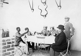 Herero and Namaqua genocide - Theodor Leutwein toasting Hendrik Witbooi in 1896.