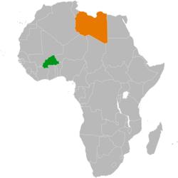 Kartta, joka osoittaa Burkina Fason ja Libyan sijainnit