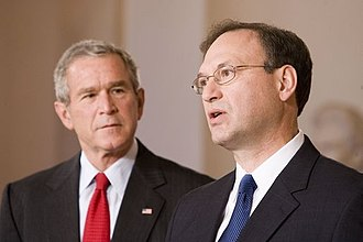 Samuel Alito - With President George W. Bush looking on, Alito acknowledges his nomination.