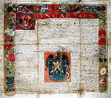 Royal decree granting Coat of Arms of Trujillo, given by Carlos I of Spain