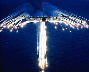 Flare (countermeasure) - A C-130 Hercules deploying flares, sometimes referred to as Angel Flares due to the characteristic shape