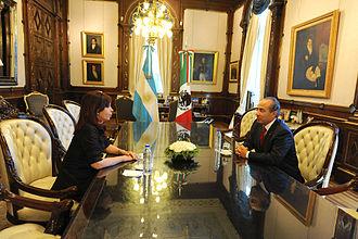 Argentina–Mexico relations - Former Mexican President Felipe Calderón with Former Argentine President Cristina Fernández de Kirchner; 2010.
