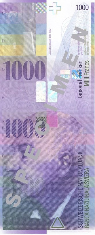 Jacob Burckhardt - Burckhardt on the eighth series of the Swiss banknotes.