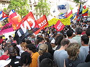 French far left groups marching on May 1, 2007; including members of Lutte Ouvrière, Confédération nationale du travail and flags of Cuba