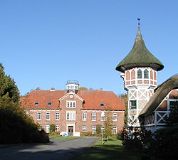 The boarding school in the castle with the half-timbered dovecot