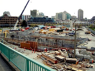 Canada Line - Construction taking place on the south shore of False Creek, at the site of Olympic Village Station, April 14, 2006