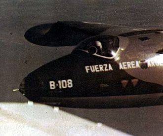 Argentine air forces in the Falklands War - Canberra B-108 during its last mission