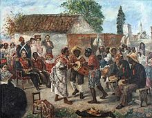 Painting depicting a man in an elaborate military uniform seated before a group of dancers, drummers and other musicians