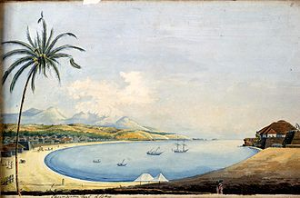 St. Angelo Fort - Image: Cannonore fort & Bay'; a watercolor by John Johnston, c.1795 1801