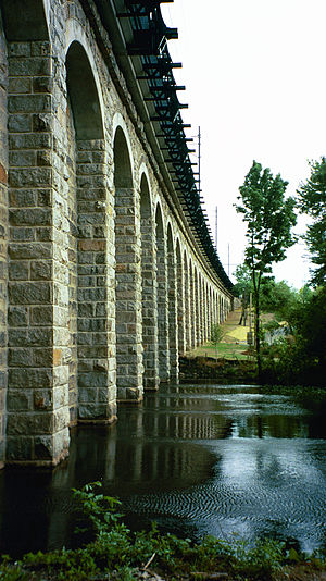 Rail transportation in the United States - The Canton Viaduct, still in use today on the Northeast Corridor, was built in 1834