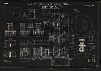 Cape Byron Light - Detailed plans for the tower and annexe, 1899