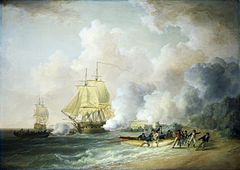 Painting of the 1794 invasion of Martinique, showing British warships exchanging fire with Fort Louis, while troops are landed on the beach by rowing boat