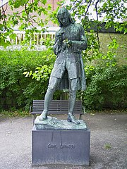 Statue of Linné outside the city library in Lund