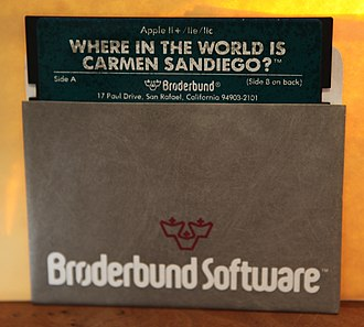 Where in the World Is Carmen Sandiego? (1985 video game) - A 5¼-inch floppy disk for the Apple II Plus personal computer.