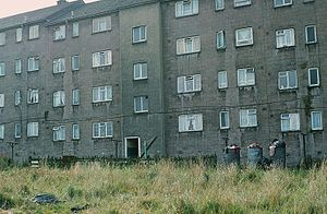 Castlemilk - Rear of a typical 1950s Castlemilk tenement in 1983
