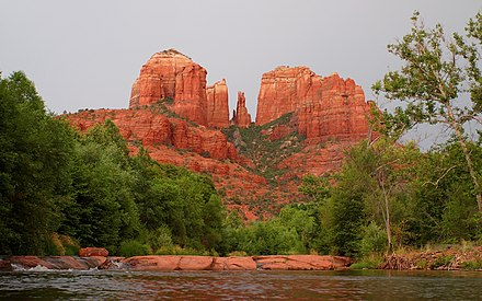 Cathedral Rock near Red Rock Crossing in Sedona Cathedral Rock Water-27527-1.jpg