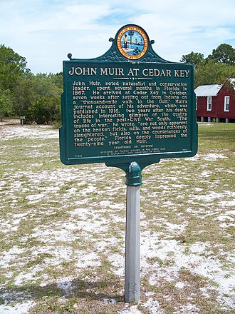 Cedar Key, Florida - Historic marker commemorating John Muir's visit