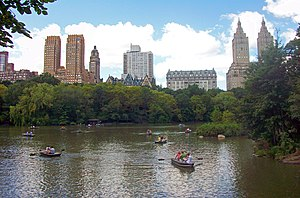 Central Park West Historic District - The Majestic, Dakota, Langham and San Remo from Bow Bridge in Central Park, 2009