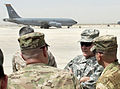 Chairman of the Joint Chiefs of Staff Gen. Martin E. Dempsey, second from right, talks with RC-North leadership about the KC-135 Stratotanker aircraft mission on the flight line in Mazar-e-Sharif, Afghanistan 130721-D-VO565-012.jpg