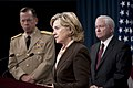 Chairman of the Joint Chiefs of Staff Navy Adm. Mike Mullen, left, Secretary of State Hillary Rodham Clinton, center, Secretary of Defense Robert M. Gates, right, and Secretary of Energy Steven Chu conduct 100406-N-TT977-065.jpg